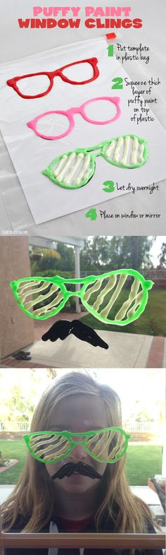 Mustache and Glasses Puffy Paint Homemade Window Clings - so easy and fun!