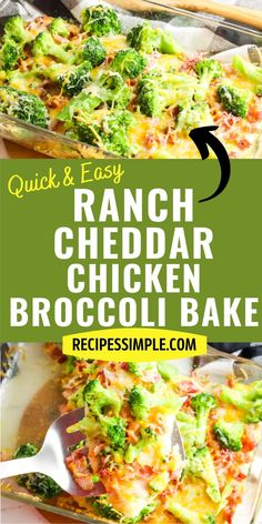 Six ingredients are all that is required to make this delicious Ranch Cheddar Chicken and Broccoli Bake. So much flavor in this quick and easy dinner! Chicken And Beef Recipe, Healthy Chicken Recipes, Baked Chicken, Easy Main Course Recipes, Side Dish Recipes, Chili Recipes, Diet Recipes, Ranch Cheddar Chicken, Broccoli Bake