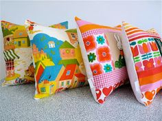 Vintage children's fabric cushions