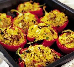 Couscous mushroom stuffed peppers...I used fresh mushrooms sauteed in garlic, bulgar wheat, and a mixture of edam and gouda cheese instead. LOVED it.