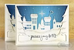 Peace Joy Love Cards by Shannon White #Cardmaking, #TEMatched, #Christmas, #CuttingPlates, #BuildAScene, #TE, #ShareJoy
