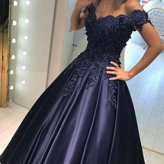 Buy this satin ball gowns with exquisite lace flower top,available in navy,purple,burgundy,black,free customized. it is perfect for prom,party,evening,weddings