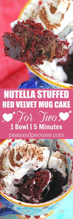 5 minutes, few ingredients and 1 bowl is what you need to make this Nutella Stuffed Red Velvet Mug Cake that has been perfectly portioned for two!