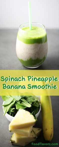 Spinach Pineapple Banana Smoothie with Chia Seeds. Jumpstart your morning with a nutritious green smoothie!