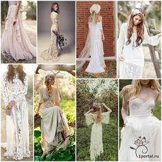 Если кратко, то бохо-это смешение разных стилей и культур- цыганской, современных хиппи, в котором четко прослеживаются винтажные и этнические мотивы.В свадебном платье невесты должны быть обязательно элементы этнического стиля.Подойдут вышивка, бахрома, шнуровки.Лучше выбирать фасон с завышенной талией — свободный и легкий, без пышных юбок и шлейфов.Единственное условие при реализации поставленной задачи – соблюдение меры и баланса в деталях.