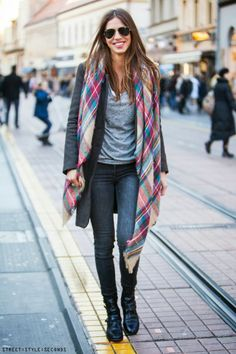 Love a colorful tartan scarf paired with casual neutrals. So pretty for fall!