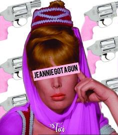 Misturando Jeannie é um gênio e Janie's Got a Gun o que será que dá? Essa camiseta aí! #aerosmith #jeannie #music #funny #gun #pink #shirt