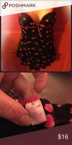 Rue21 Nightie Stretchy Black with red cherries Rue 21 Intimates & Sleepwear Chemises & Slips