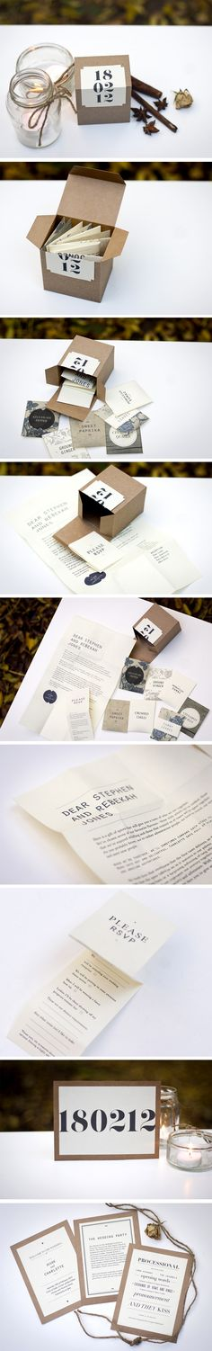 Specialty wedding invitations and stationery by Charlotte Fosdike  #wedding #invitations #stationery #packaging #design #unique #beautiful #brown #card #indie #hipster