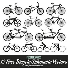 XOO Plate :: 12 Bicycle Silhouette Vector Pack - 12 Detailed bicycle silhouette vector set - includes racing bikes, BMX, tandems and pictograms.