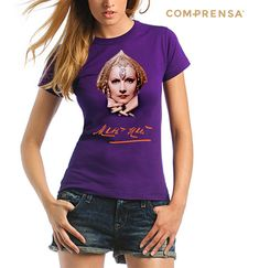 """Purple cotton T-shirt from Com-Prensa featuring a round neck, short sleeves and a print to the front """" Mata Hari """"  #manufacturer #barcelos #sweat #colours #tshirt #cotton #comprensa #fashion #model #fashion #design #company #textile #portugal #sublimation #screenprinting #digitalprint #laser #photoprint"""