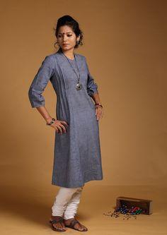 Kurtis for women - Ink-Blue Muslin Khadi Kurta by Seamstress PC 16189 - Main Khadi Kurti, Kurtis Tops, Salwar Pattern, Kurti Styles, Indian Outfits, Indian Clothes, Ink Blue, Smart Outfit, Romantic Outfit
