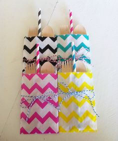 20 Yellow Chevron Cutlery Bags - Favor bags - Candy - Paper bags - Party Supplies. $4.50, via Etsy.