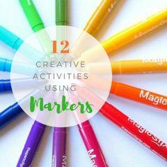 Marker Art Ideas for Kids - 12 Creative Activities to do with Markers Painting Activities, Art Activities For Kids, Creative Activities, Toddler Activities, Toddler Play, Creative Ideas, Painting For Kids, Art For Kids, Kids Fun