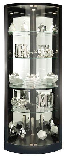 Howard Miller Deluxe Black Satin Finish Corner Curio Cabinet Made In Usa