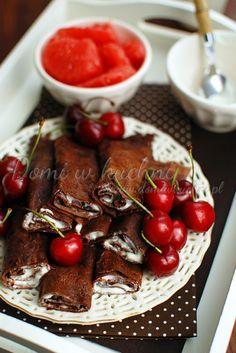 Naleśniki czekoladowe Cheat Day, French Toast, Sweets, Cook, Breakfast, Recipes, Morning Coffee, Gummi Candy, Candy