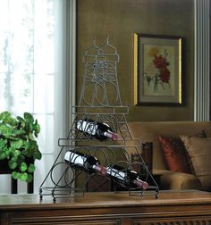 Ooh La La! Wrought Iron Eiffel Tower Sculpture Wine Bottle Holder