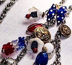 Show pride in  the USA ,wear this red white and blue vintage charms and WW2 brass button necklace. Wear It on Election Day, Veterans Day, Columbus Day, Martin Luther King Day, Washington's Birthday, Thanksgiving Day, New Year's Day, Fourth of July and Memorial Day. Personalize it with your own patri...