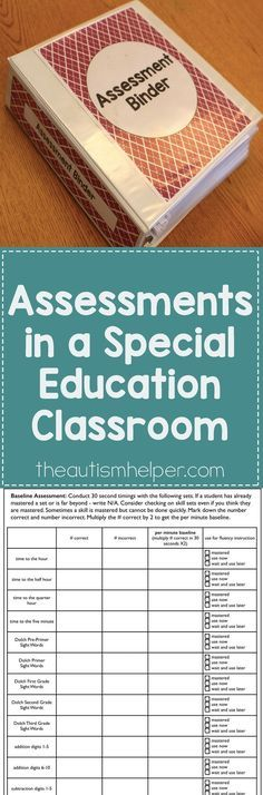 Learn how to create a system for organizing your assessments now so you can have data at the start of the year & get at true baseline o. Teacher Organization, Teacher Tools, Teacher Resources, Organizing, Teacher Stuff, Resource Room Teacher, Organization Ideas, Life Skills Classroom, Autism Classroom