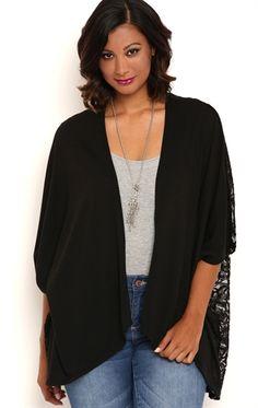 Deb Shops Plus Size Knit Kimono with Crochet Back $18.75