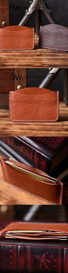 HANDMADE MENS COOL SHORT LEATHER WALLET MEN SMALL CARD SLIM WALLETS BIFOLD FOR MEN Leather Gifts, Leather Pouch, Leather Men, Sewing Leather, Leather Wallets, Small Gifts For Men, Luxury Sunglasses, Small Cards, Slim Wallet