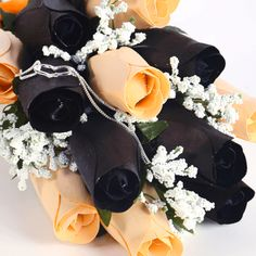 Peach & Black Half Dozen Wax Dipped Roses | jewelrycandle