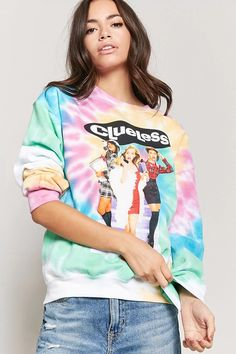 Product Name:Clueless Graphic Tie-Dye Sweatshirt, Category:top_blouses, Price:22.9