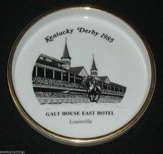 "Kentucky Derby Ashtray Ash Tray 6.75"" Galt House East Hotel 1985 FREE US Ship"