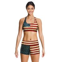 2016 New plus size Push Up Bras and shorts sets American flag Quick-drying print running wireless sports vest shorts suit female