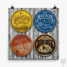 Montana Treasures' Fly Fishing Wall Signs photo has received such a tremendous response that it has been made into a poster. Hang these classics in your home today! Free Shipping on framed and unframed posters, anywhere in the USA!