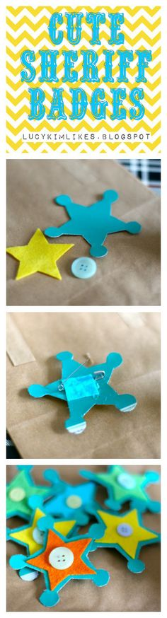 Make your own cute sheriff badges with card, felt, button and paper clip. Printable template