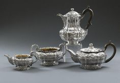 by Paul Storr b Westminster 1771 - d Tooting 1844 ,A George IV silver Tea Set about 1820