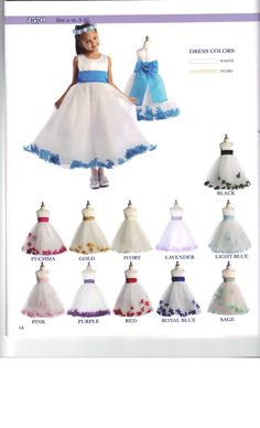 Flower Petal Bottom dress perfect for your Flower Girl. Colors to match your Wedding