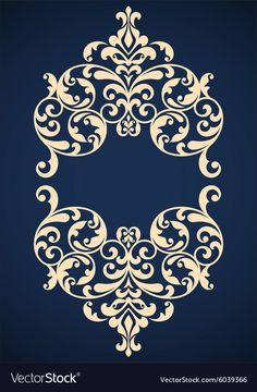 Vintage frame vector image on VectorStock Stencil Patterns, Stencil Designs, Pattern Art, Corset Pattern, Stencils, Damask Stencil, Motifs Islamiques, Motif Arabesque, Cnc Cutting Design