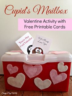 Cupid's Mailbox Activity with Free Printable Valentine Cards! Fun Valentine's Day craft and activity for toddlers and preschoolers.