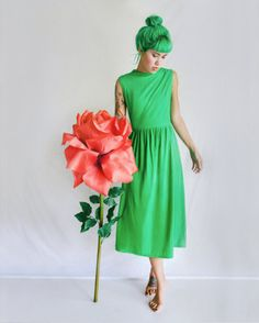 Maxi Dress Lime Green prom gown vintage 60s by laurenathalia