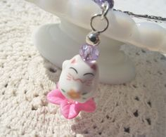 Ceramic CAT BEADED BOOKMARKGift Cat by CedarCoveCreations on Etsy