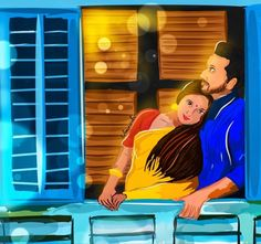 Indian Illustration, Illustration Art Drawing, Couple Illustration, Illustration Fashion, Love Cartoon Couple, Cute Love Cartoons, Cartoon Boy, Cute Love Gif, Cute Love Pictures