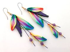 Fimo Earrings Polymer clay earrings beads swarovski crystal rainbow dangle feather handmade fairy floral fantasy leaf kato sculpy fimo