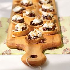 Fig and Goat Cheese Bruschetta: This easy, impressive party app highlights a versatile fig jam that can be made up to three days in advance. On the day of your party, top bread slices with fig jam, goat cheese, and a sprinkling of walnuts, and broil for about 2 minutes.