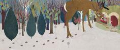 #carriemay #kidscornerillustration #illustration #digital #mixedmedia #deer #forest #trees #snow