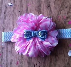Pink Chevron Flower Headband-Chevron Headband-Baby Headband-Blue Chevron Elastic- Premie, Newborn, Baby, Toddler, Child, Teen, Adult on Etsy, $6.50