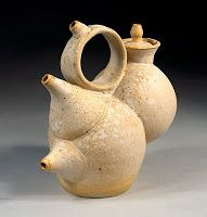 The middle spout pours hot liquid. The upper spout pours out blessings. The lower spout is a handhold. The sand-blasted surface is soft like human skin. Pottery Teapots, Ceramic Teapots, Cute Teapot, Tea Pot Set, Mad Hatter Tea, Dinner Sets, Chocolate Pots, Fun At Work, Tea Ceremony