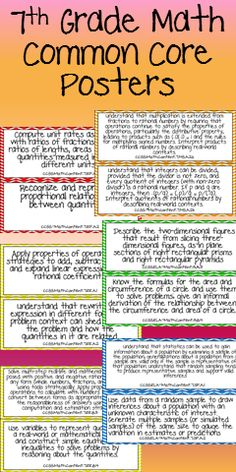 This product will help you display the Common Core standards in your 7th grade Math classroom!!  This file features the Common Core Standards for Math. The standards for each domain of the Math Standards are on a different color background. There are 2 posters on each page.$