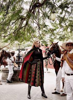 Quite a nice skirt and cape  Karlie Kloss by Mario Testino for Vogue September 2014