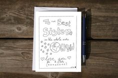 Printable best sister card to the best sister in by laurastratta
