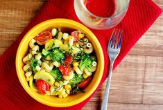 Summer Veggie Pasta Skillet combines summer produce with pasta in a light and creamy sauce.