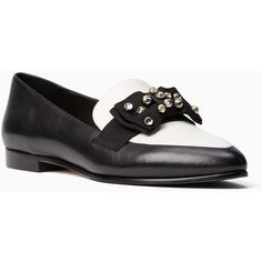 Kate Spade Cabbot Flats (2.425 ARS) ❤ liked on Polyvore featuring shoes, flats, two tone shoes, two tone loafers, kate spade, denim flats and two tone flats