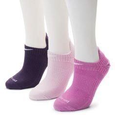 Nike 3-pk. Dri-FIT Lightweight No-Show Socks ($18) ❤ liked on Polyvore featuring intimates, hosiery, socks, pink, nike, pink socks, dri fit socks and nike socks