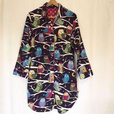 Nick & Nora Owls Pajama Sleepwear Dress Top Size Large Birds Cute #NickNora #SleepDress